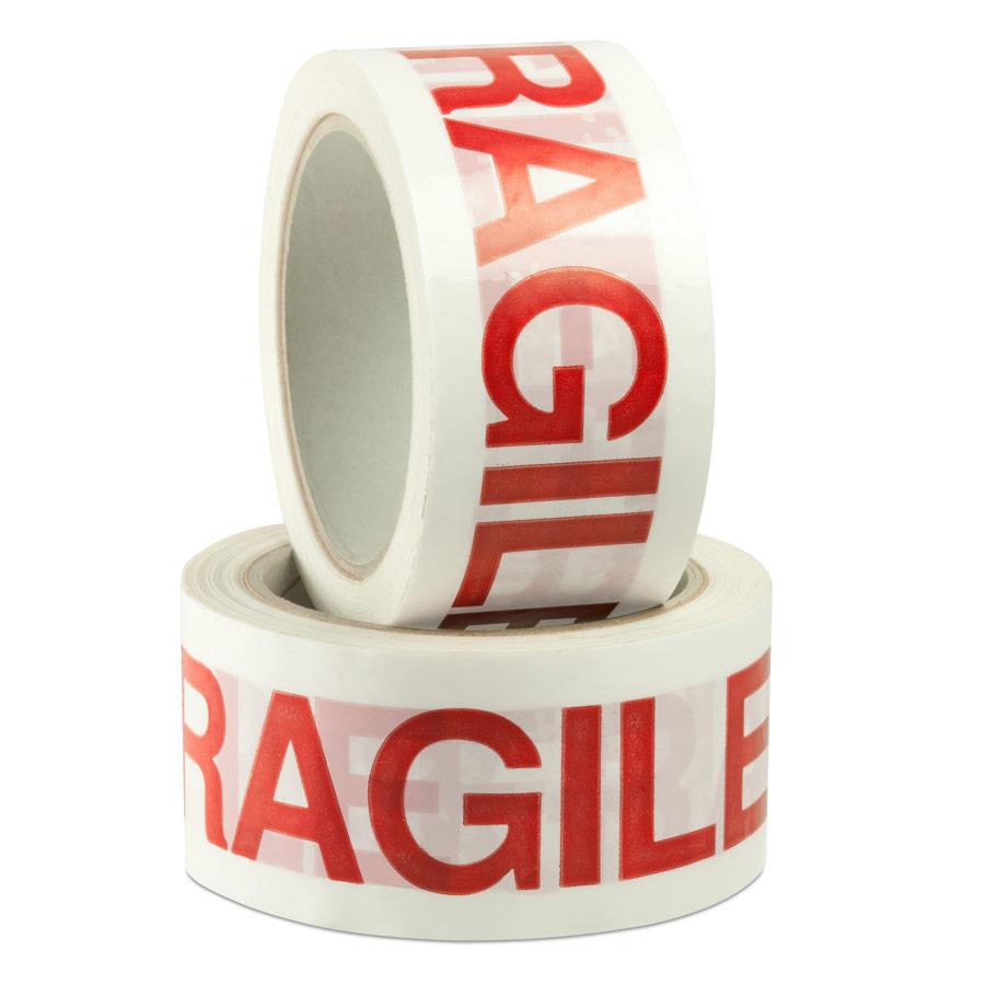 Nastro Prestampato Fragile. Scritta Rossa, Sfondo Bianco mt 66x 50mm