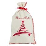 Sacchetti Natalizi di cotone con stampa Albero di Natale cm. 17x30 con Nastrino
