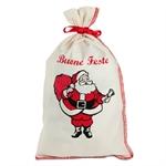 Sacchetti Natalizi di cotone con stampa Babbo Natale cm. 17x30 con Nastrino