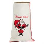Sacchetti Natalizi di cotone con stampa Babbo Natale cm. 17x30